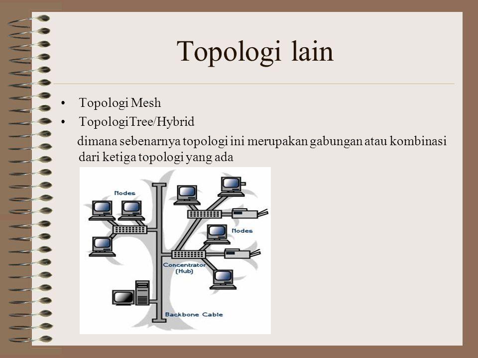 Topologi lain Topologi Mesh TopologiTree/Hybrid dimana sebenarnya topologi ini merupakan gabungan atau kombinasi dari ketiga topologi yang ada