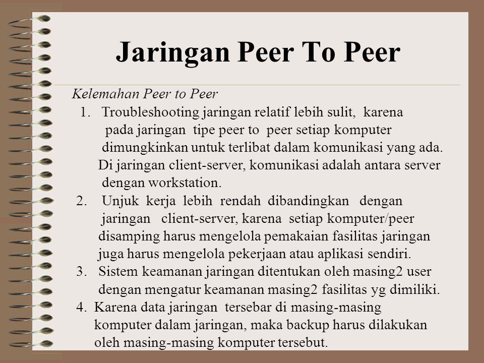 Kelemahan Peer to Peer 1.