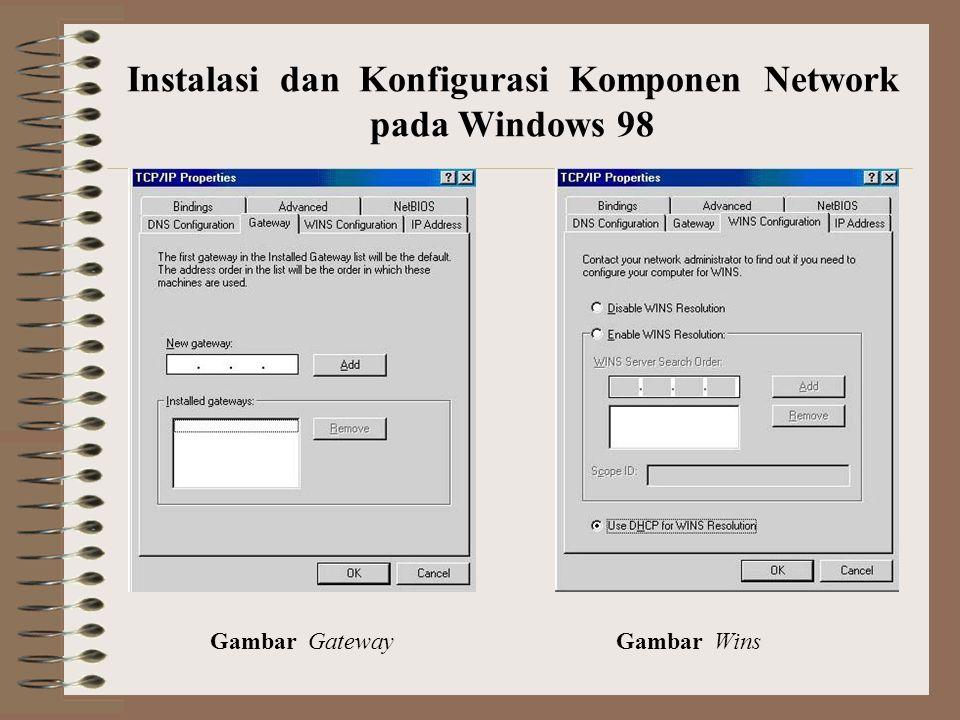 Gambar Gateway Gambar Wins Instalasi dan Konfigurasi Komponen Network pada Windows 98