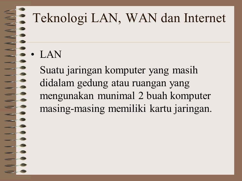Teknologi LAN, WAN dan Internet LAN Suatu jaringan komputer yang masih didalam gedung atau ruangan yang mengunakan munimal 2 buah komputer masing-masing memiliki kartu jaringan.