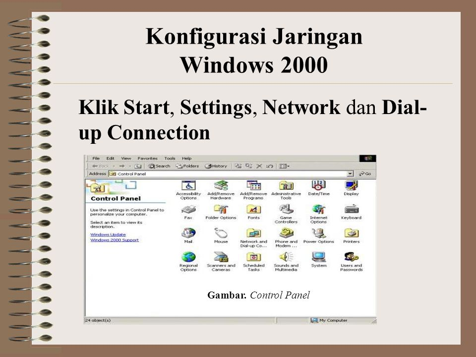 Konfigurasi Jaringan Windows 2000 Klik Start, Settings, Network dan Dial- up Connection Gambar.