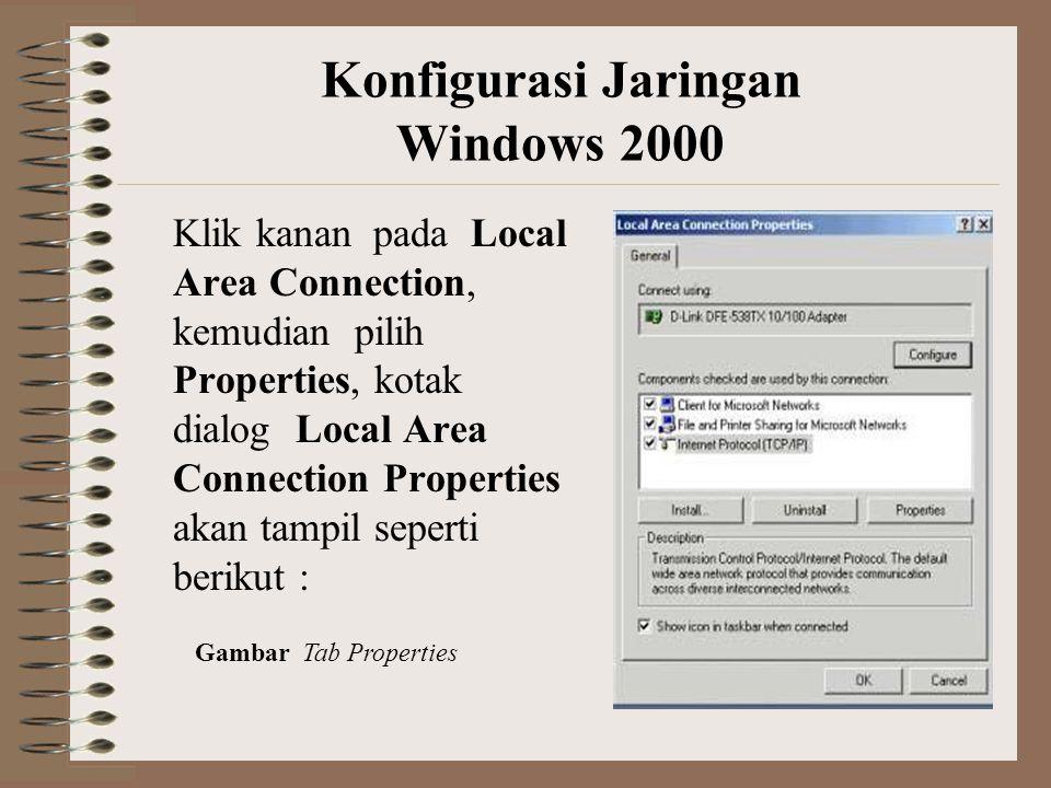Klik kanan pada Local Area Connection, kemudian pilih Properties, kotak dialog Local Area Connection Properties akan tampil seperti berikut : Konfigurasi Jaringan Windows 2000 Gambar Tab Properties