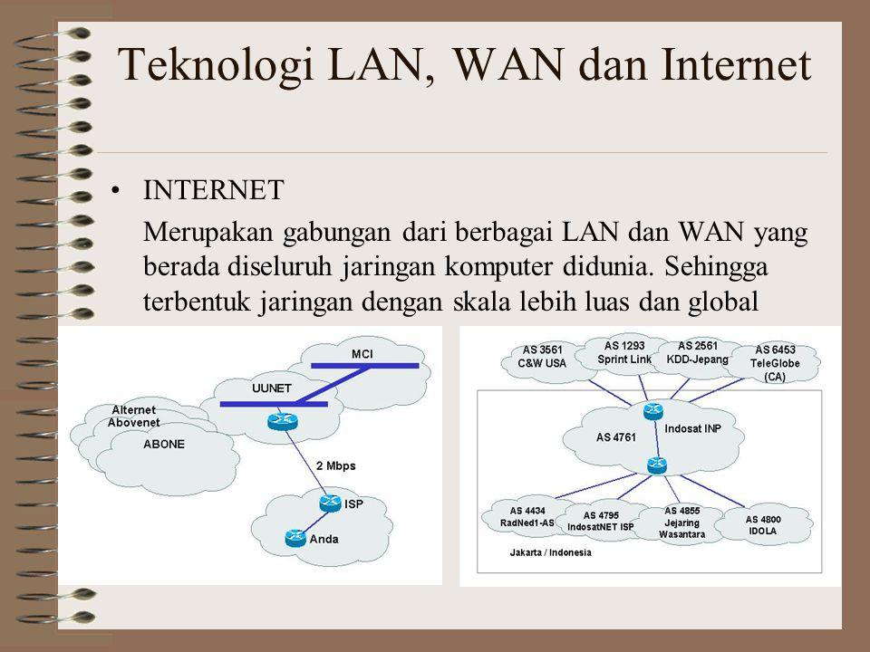 Teknologi LAN, WAN dan Internet INTERNET Merupakan gabungan dari berbagai LAN dan WAN yang berada diseluruh jaringan komputer didunia.