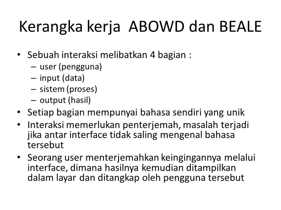 Kerangka kerja ABOWD dan BEALE Sebuah interaksi melibatkan 4 bagian : – user (pengguna) – input (data) – sistem (proses) – output (hasil) Setiap bagia