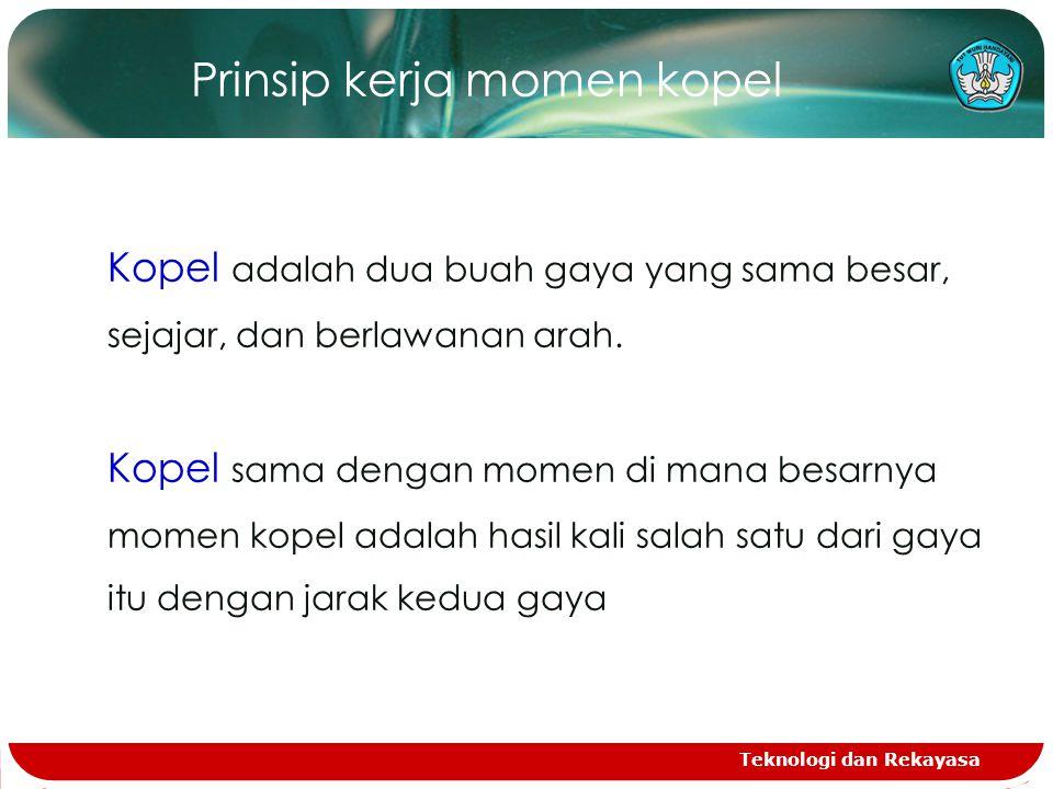 Teknologi dan Rekayasa Prinsip kerja momen kopel Kopel adalah dua buah gaya yang sama besar, sejajar, dan berlawanan arah.