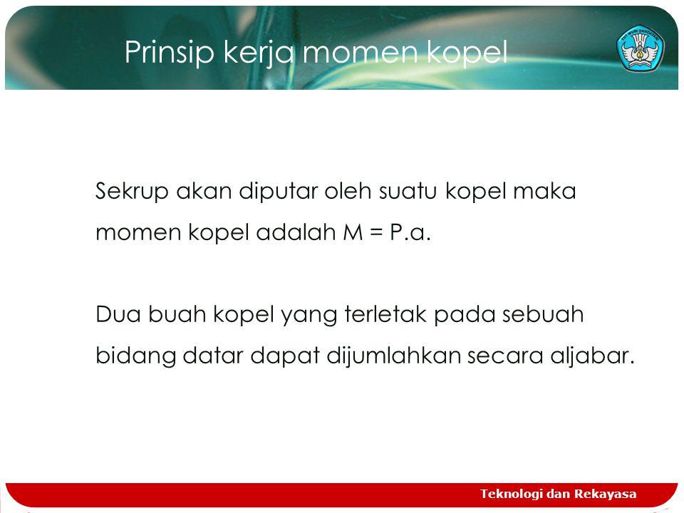 Teknologi dan Rekayasa Prinsip kerja momen kopel Sekrup akan diputar oleh suatu kopel maka momen kopel adalah M = P.a.