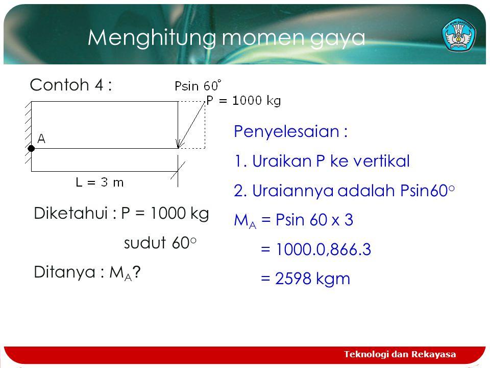 Teknologi dan Rekayasa Menghitung momen gaya Contoh 4 : Diketahui : P = 1000 kg sudut 60 o Ditanya : M A .