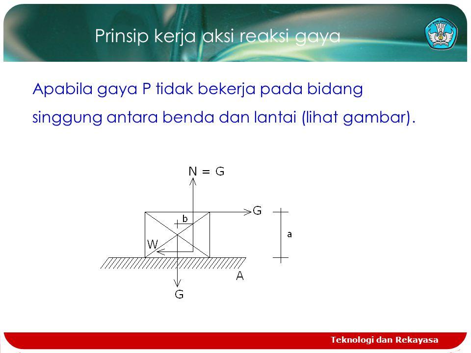 Teknologi dan Rekayasa Prinsip kerja aksi reaksi gaya Apabila gaya P tidak bekerja pada bidang singgung antara benda dan lantai (lihat gambar).
