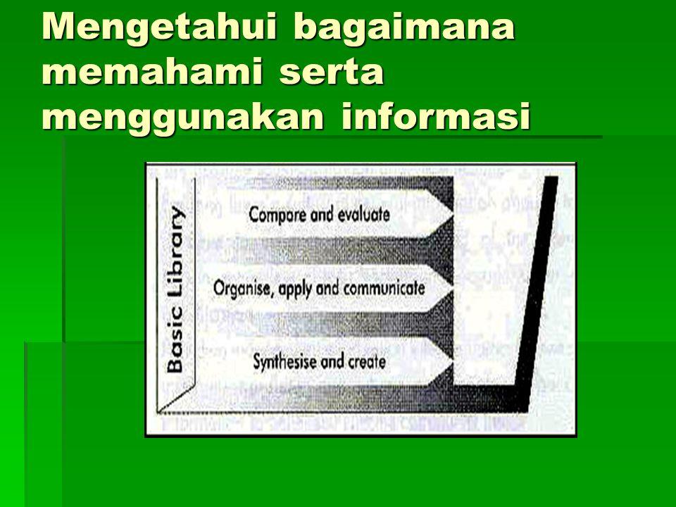 Mengetahui bagaimana memahami serta menggunakan informasi