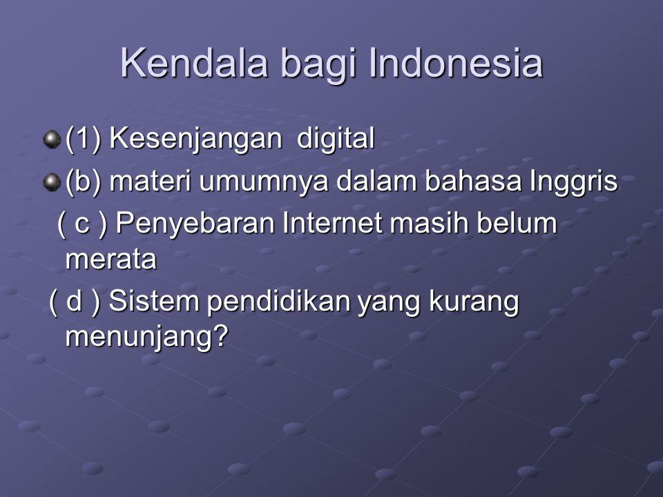 Kendala bagi Indonesia (1) Kesenjangan digital (b) materi umumnya dalam bahasa Inggris ( c ) Penyebaran Internet masih belum merata ( c ) Penyebaran I