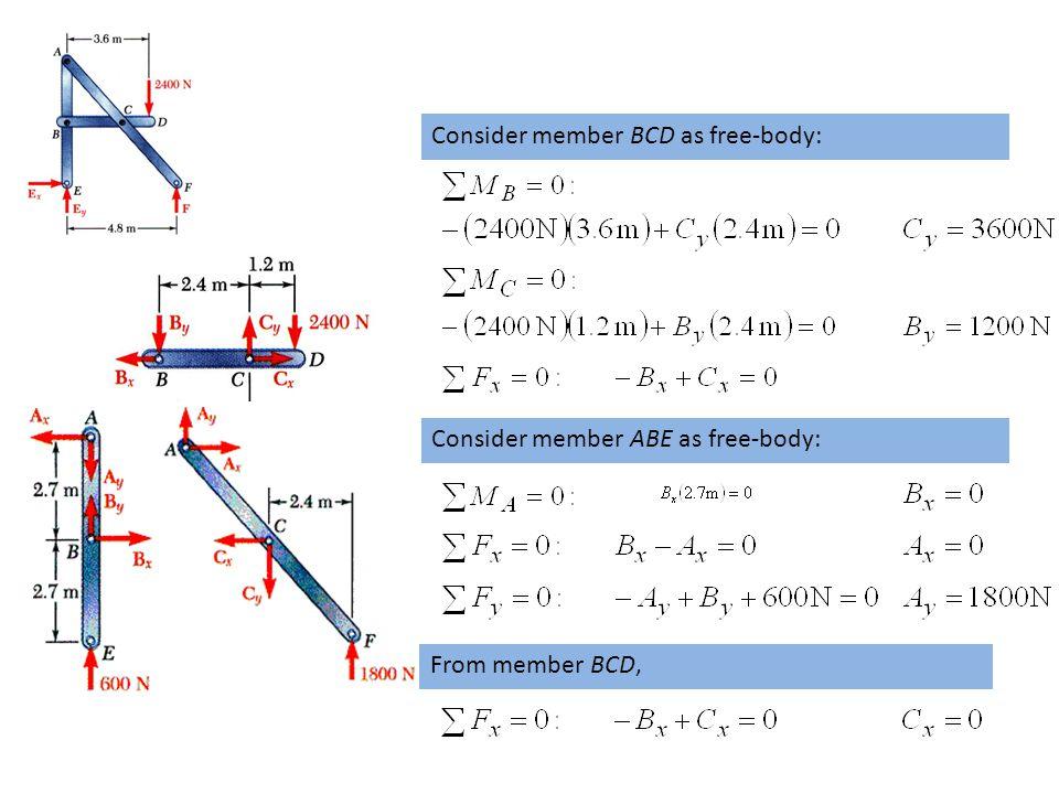 7- 8 Consider member BCD as free-body: Consider member ABE as free-body: From member BCD,