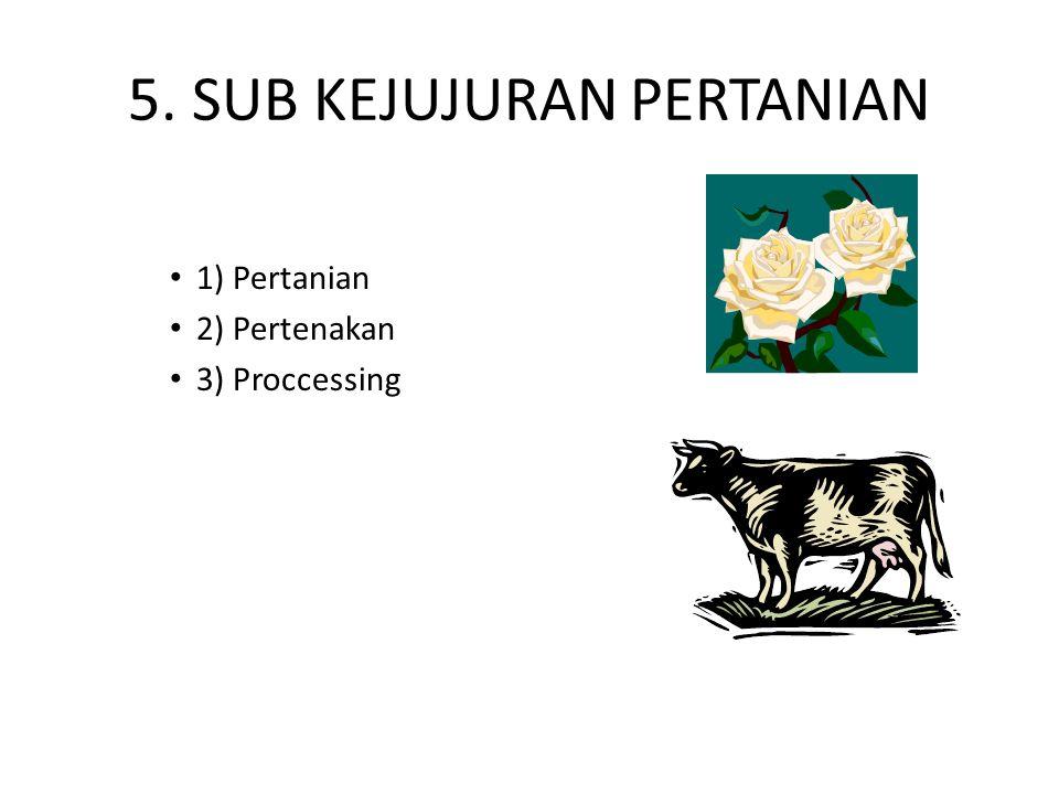 5. SUB KEJUJURAN PERTANIAN 1) Pertanian 2) Pertenakan 3) Proccessing