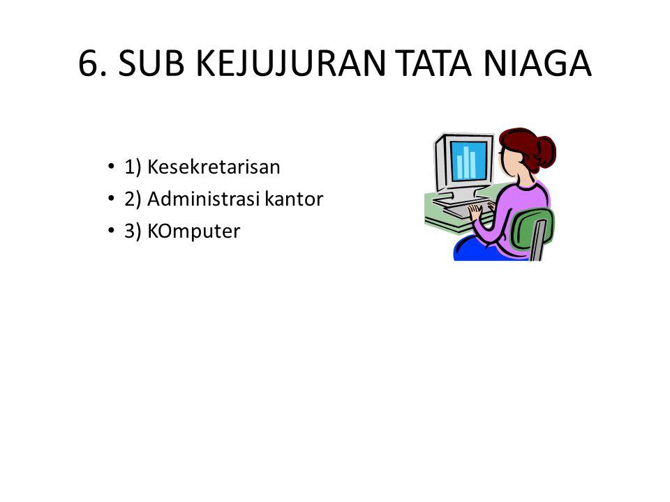 6. SUB KEJUJURAN TATA NIAGA 1) Kesekretarisan 2) Administrasi kantor 3) KOmputer