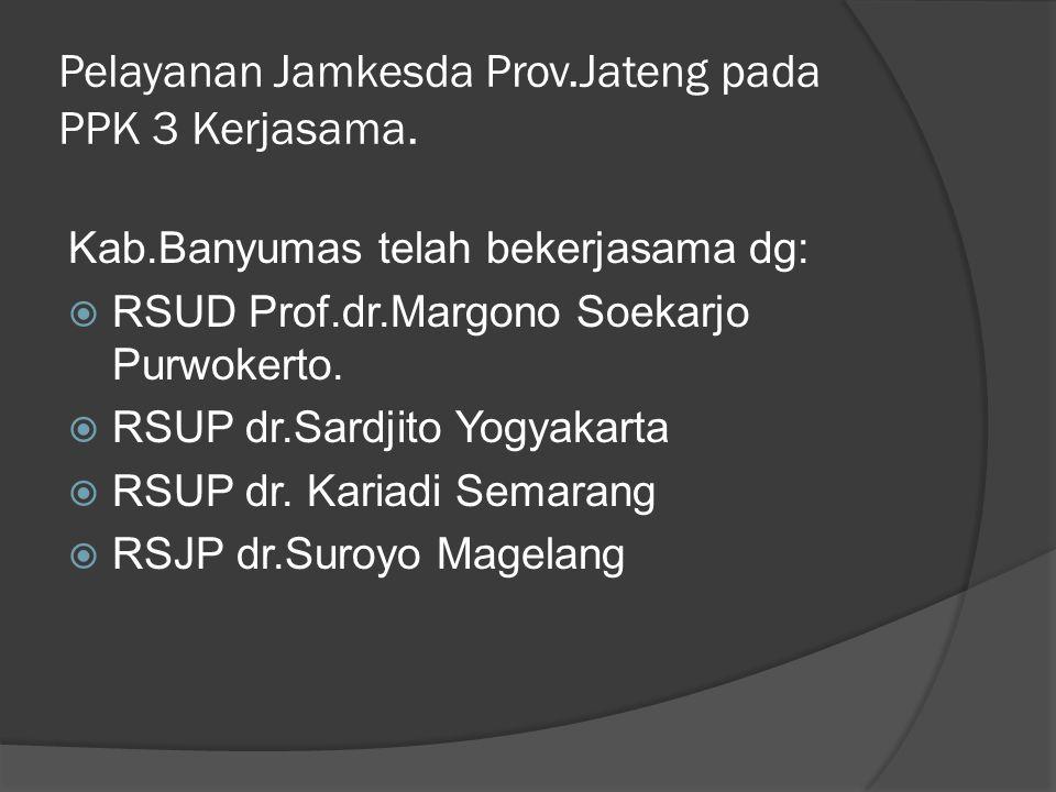 Pelayanan Jamkesda Prov.Jateng pada PPK 3 Kerjasama. Kab.Banyumas telah bekerjasama dg:  RSUD Prof.dr.Margono Soekarjo Purwokerto.  RSUP dr.Sardjito