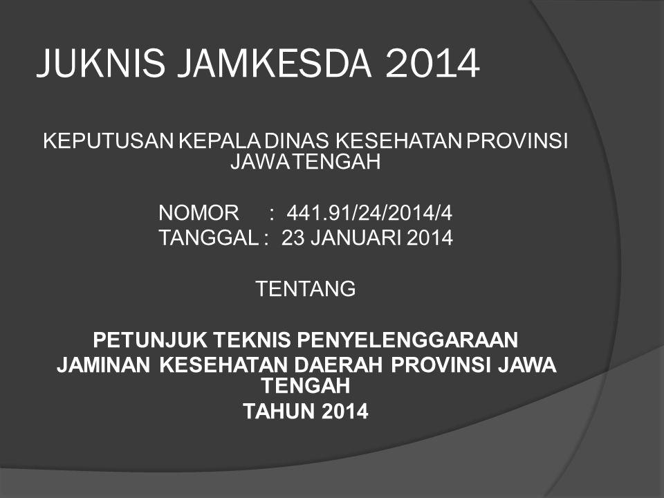 JUKNIS JAMKESDA 2014 MENGATUR :  Penyelenggaraan Jaminan Kesehatan Daerah (Jamkesda) Provinsi Jawa Tengah  Pengajuan Bantuan Biaya Penanganan Gizi Buruk  Pengajuan Bantuan Biaya Pelayanan ODMK dengan Pemasungan