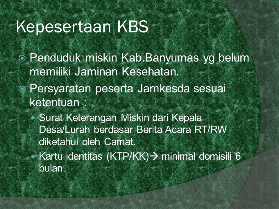 Kepesertaan KBS  Penduduk miskin Kab.Banyumas yg belum memiliki Jaminan Kesehatan.  Persyaratan peserta Jamkesda sesuai ketentuan : Surat Keterangan