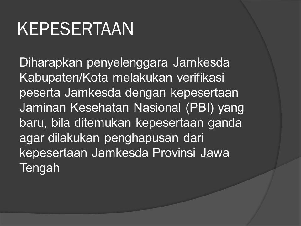 KEPESERTAAN Diharapkan penyelenggara Jamkesda Kabupaten/Kota melakukan verifikasi peserta Jamkesda dengan kepesertaan Jaminan Kesehatan Nasional (PBI)