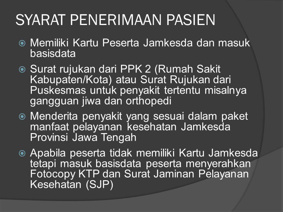 Mekanisme Pencairan Biaya bagi PPK3 milik Pemerintah Provinsi Jawa Tengah Tagihan 60% Pembayaran 60% Penyelenggara Jamkesda Kab/ Kota PPK 3 Berkas Pasien Jamkesda Provinsi Diverifikasi oleh tenaga pelaksana verifikasi Dilihat kelengkapan berkas