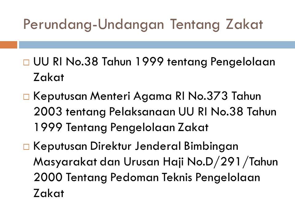 Perundang-Undangan Tentang Zakat  UU RI No.38 Tahun 1999 tentang Pengelolaan Zakat  Keputusan Menteri Agama RI No.373 Tahun 2003 tentang Pelaksanaan
