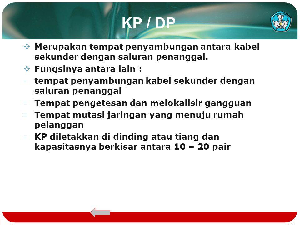 KP / DP  Merupakan tempat penyambungan antara kabel sekunder dengan saluran penanggal.