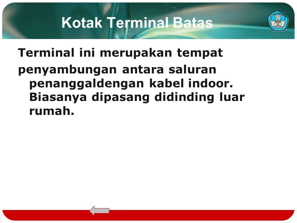 Kotak Terminal Batas Terminal ini merupakan tempat penyambungan antara saluran penanggaldengan kabel indoor.