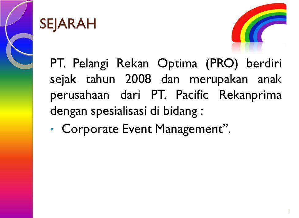 SEJARAH PT. Pelangi Rekan Optima (PRO) berdiri sejak tahun 2008 dan merupakan anak perusahaan dari PT. Pacific Rekanprima dengan spesialisasi di bidan