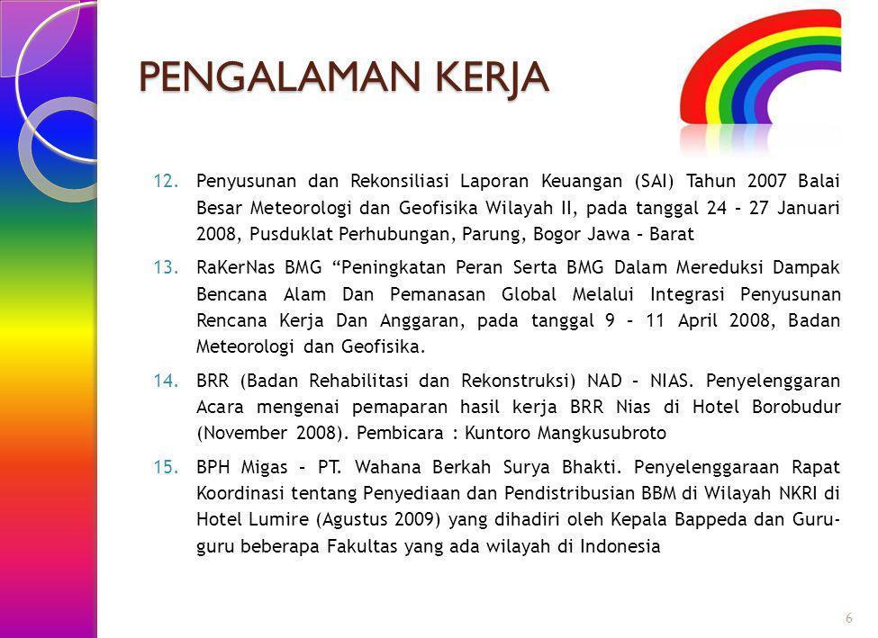 PENGALAMAN KERJA 12.Penyusunan dan Rekonsiliasi Laporan Keuangan (SAI) Tahun 2007 Balai Besar Meteorologi dan Geofisika Wilayah II, pada tanggal 24 –