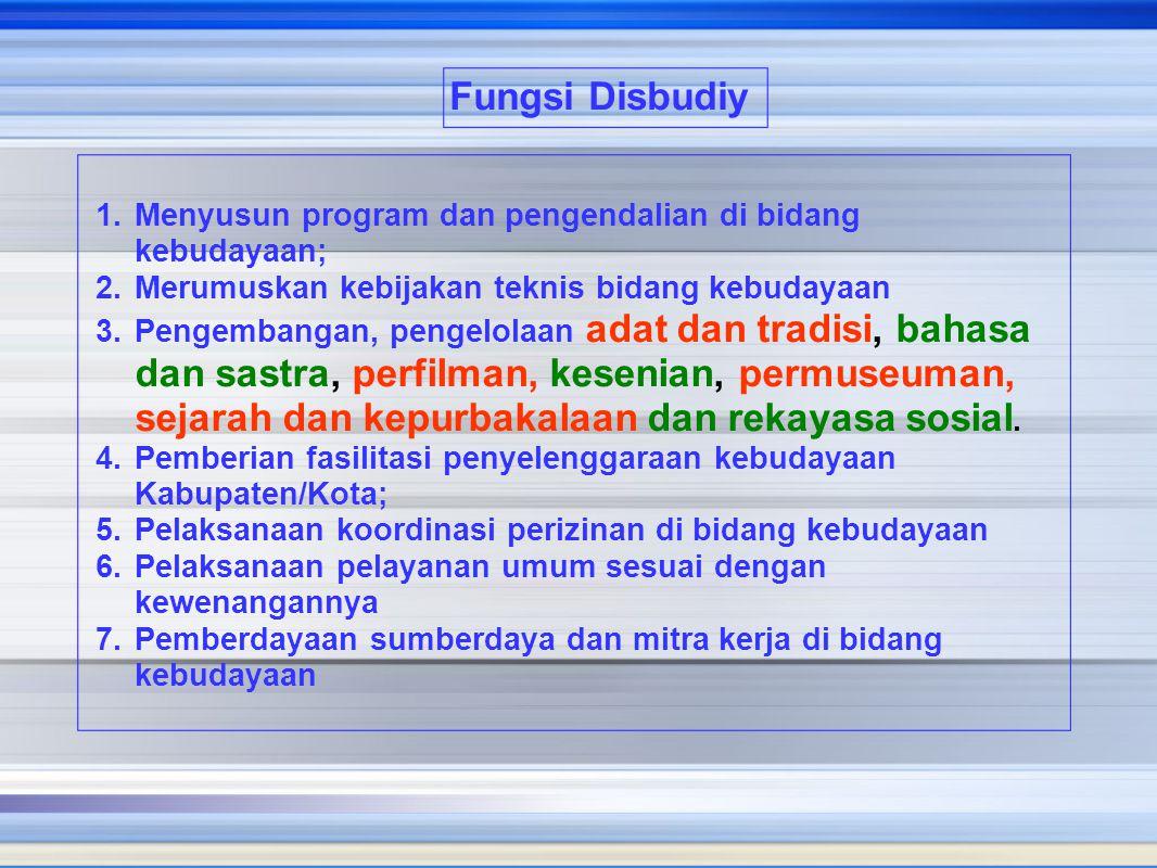 1.Menyusun program dan pengendalian di bidang kebudayaan; 2.Merumuskan kebijakan teknis bidang kebudayaan 3.Pengembangan, pengelolaan adat dan tradisi