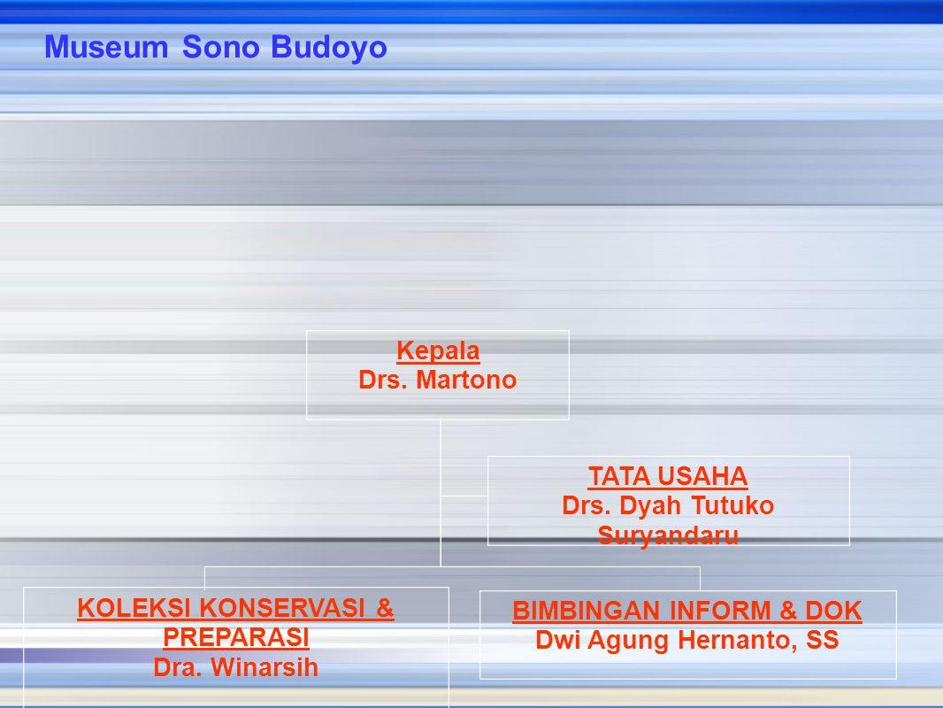 Kepala Drs. Martono TATA USAHA Drs. Dyah Tutuko Suryandaru BIMBINGAN INFORM & DOK Dwi Agung Hernanto, SS KOLEKSI KONSERVASI & PREPARASI Dra. Winarsih
