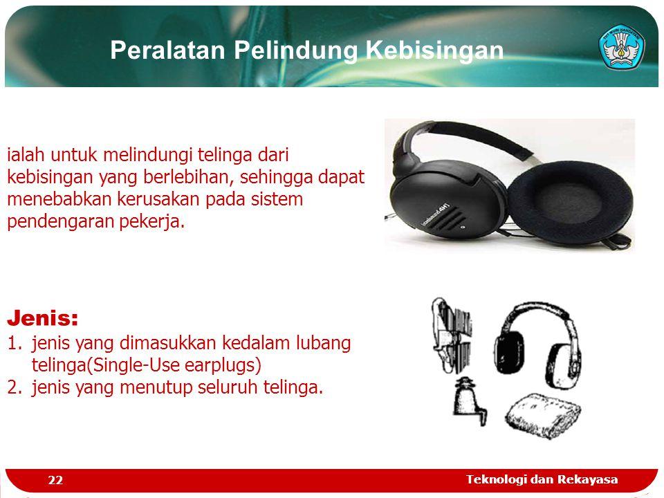 Teknologi dan Rekayasa 22 Teknologi dan Rekayasa ialah untuk melindungi telinga dari kebisingan yang berlebihan, sehingga dapat menebabkan kerusakan p