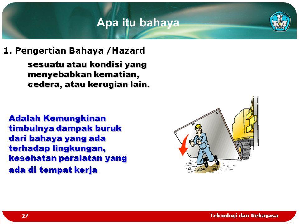 Teknologi dan Rekayasa 27 Teknologi dan Rekayasa 1. Pengertian Bahaya /Hazard Apa itu bahaya sesuatu atau kondisi yang menyebabkan kematian, cedera, a