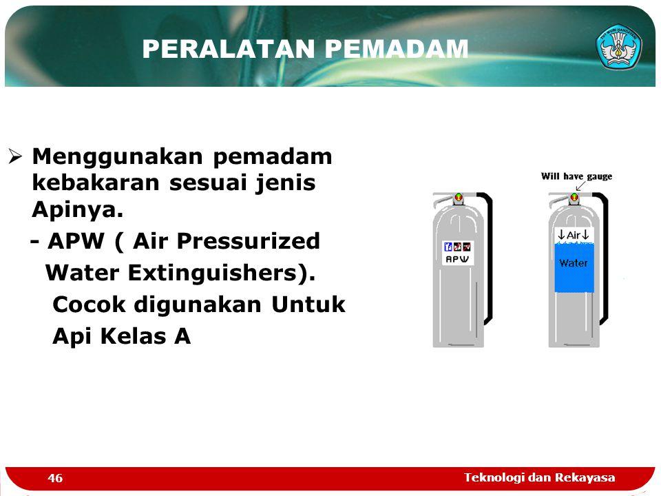 Teknologi dan Rekayasa 46 Teknologi dan Rekayasa  Menggunakan pemadam kebakaran sesuai jenis Apinya. - APW ( Air Pressurized Water Extinguishers). Co