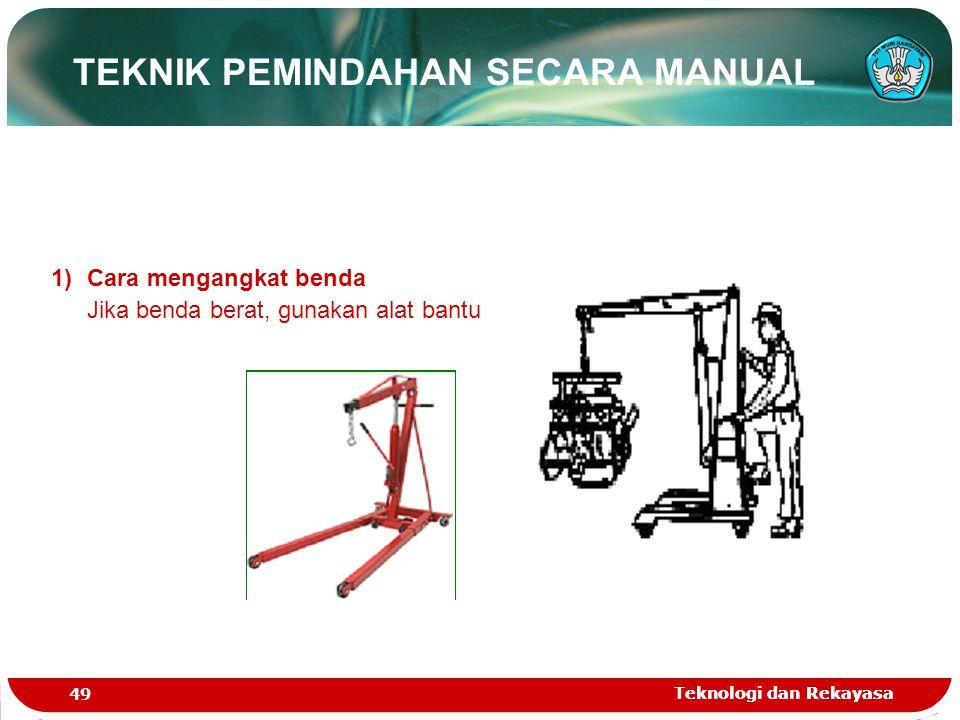 Teknologi dan Rekayasa 49 Teknologi dan Rekayasa 1)Cara mengangkat benda Jika benda berat, gunakan alat bantu TEKNIK PEMINDAHAN SECARA MANUAL