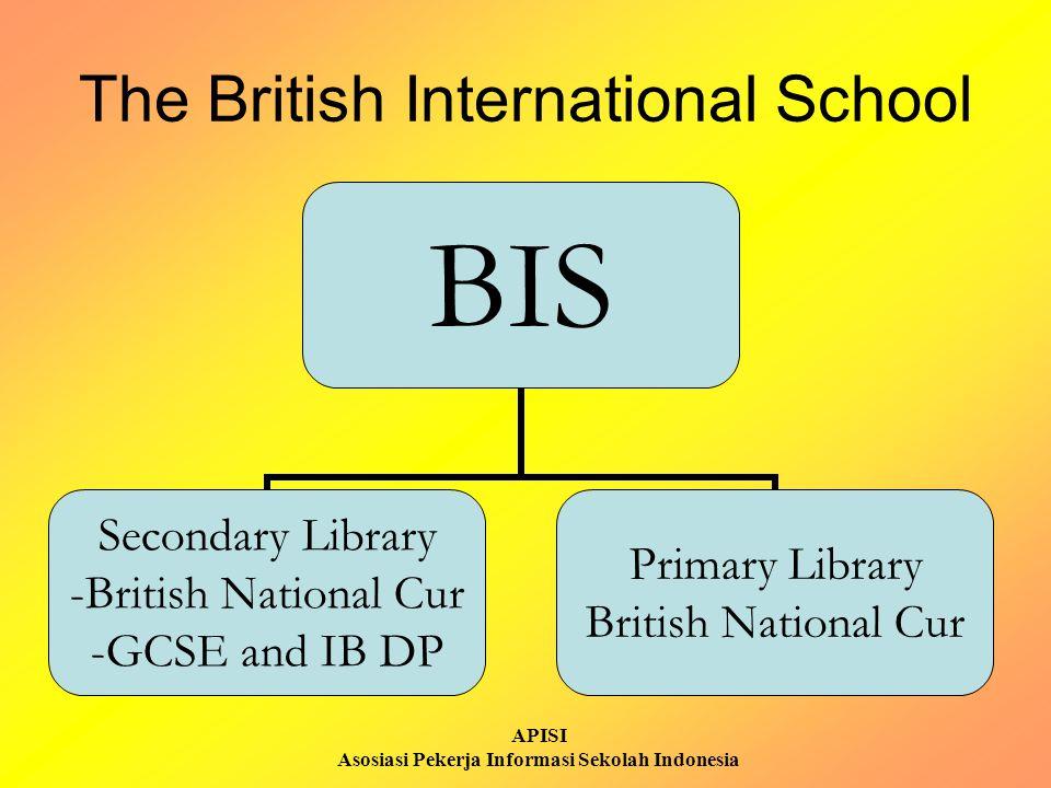 APISI Asosiasi Pekerja Informasi Sekolah Indonesia The British International School BIS Secondary Library British National Cur GCSE and IB DP Primary