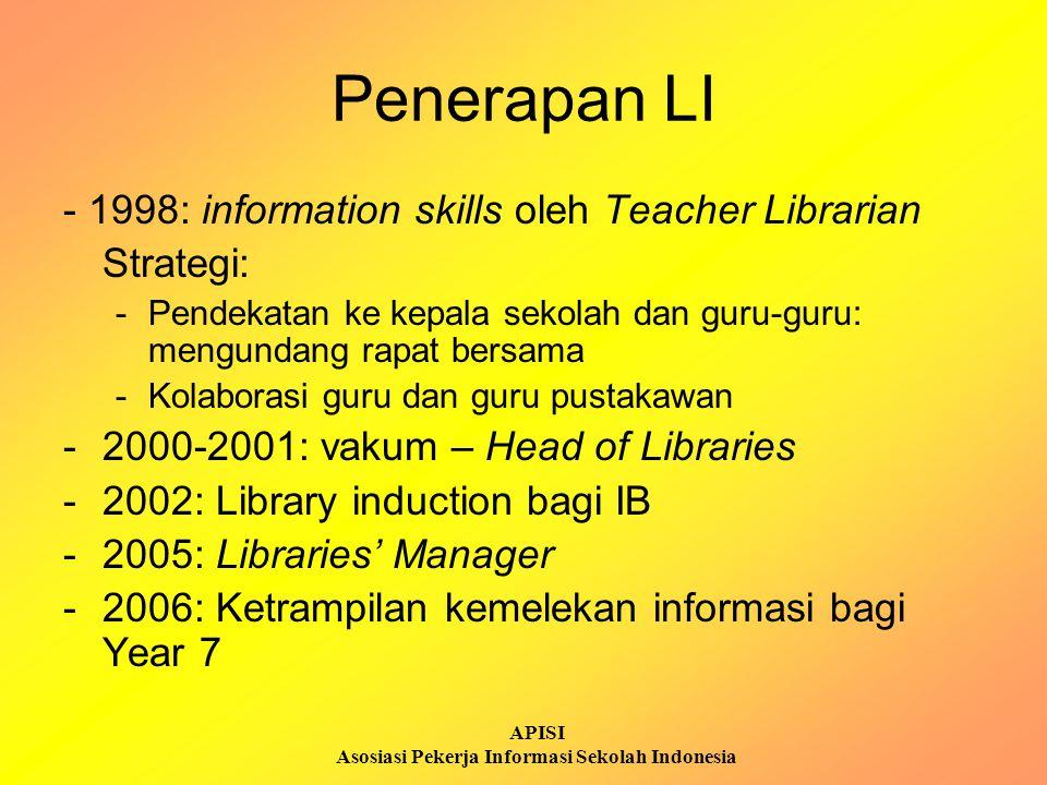 APISI Asosiasi Pekerja Informasi Sekolah Indonesia Penerapan LI - 1998: information skills oleh Teacher Librarian Strategi: -Pendekatan ke kepala seko