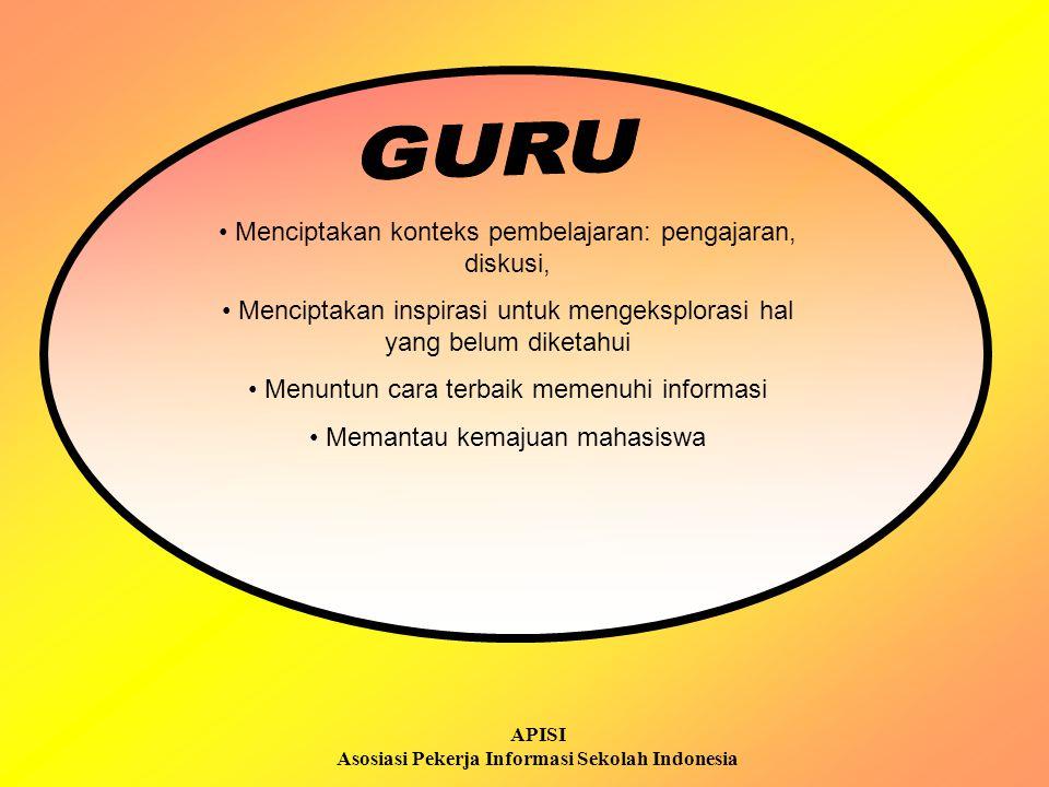 APISI Asosiasi Pekerja Informasi Sekolah Indonesia Menciptakan konteks pembelajaran: pengajaran, diskusi, Menciptakan inspirasi untuk mengeksplorasi h