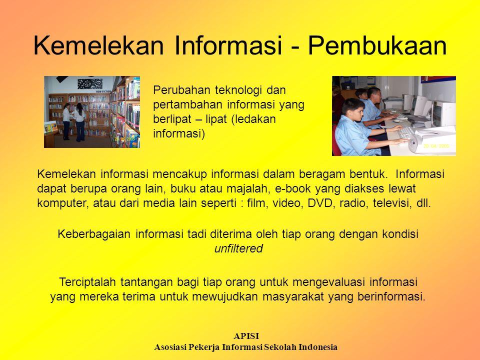 APISI Asosiasi Pekerja Informasi Sekolah Indonesia Kemelekan Informasi - Pembukaan Kemelekan informasi mencakup informasi dalam beragam bentuk. Inform