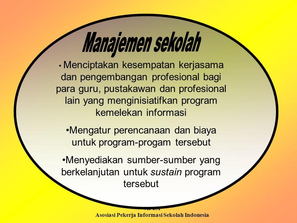 APISI Asosiasi Pekerja Informasi Sekolah Indonesia Menciptakan kesempatan kerjasama dan pengembangan profesional bagi para guru, pustakawan dan profes