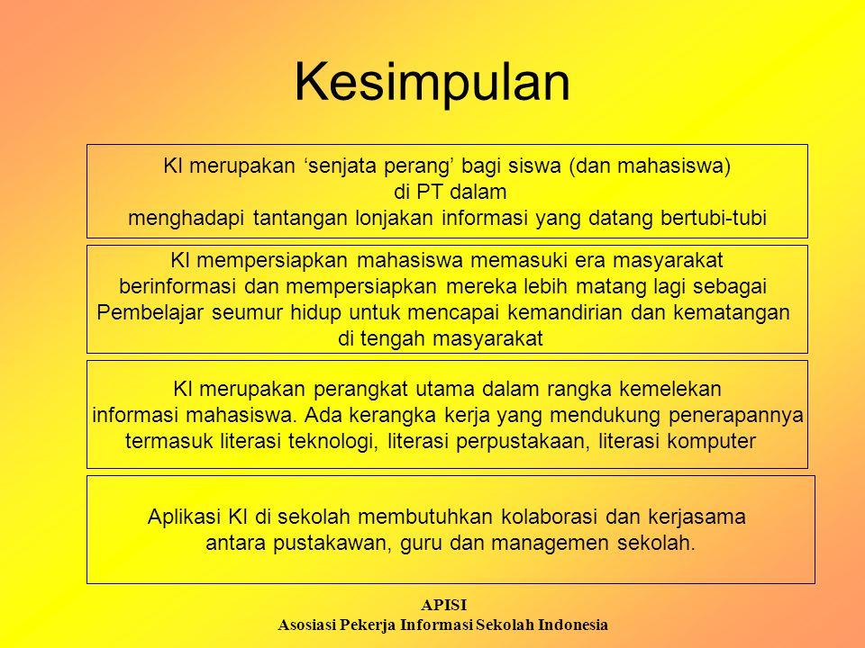APISI Asosiasi Pekerja Informasi Sekolah Indonesia Kesimpulan KI merupakan 'senjata perang' bagi siswa (dan mahasiswa) di PT dalam menghadapi tantanga