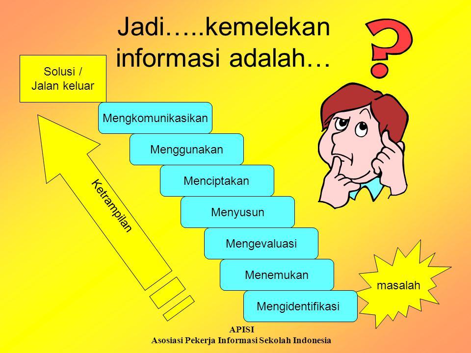 APISI Asosiasi Pekerja Informasi Sekolah Indonesia Jadi…..kemelekan informasi adalah… masalah Solusi / Jalan keluar Ketrampilan Menggunakan Mengkomuni