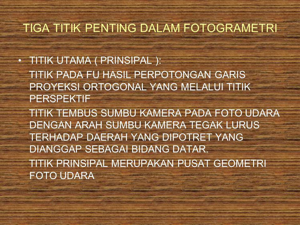 TIGA TITIK PENTING DALAM FOTOGRAMETRI TITIK UTAMA ( PRINSIPAL ): TITIK PADA FU HASIL PERPOTONGAN GARIS PROYEKSI ORTOGONAL YANG MELALUI TITIK PERSPEKTI