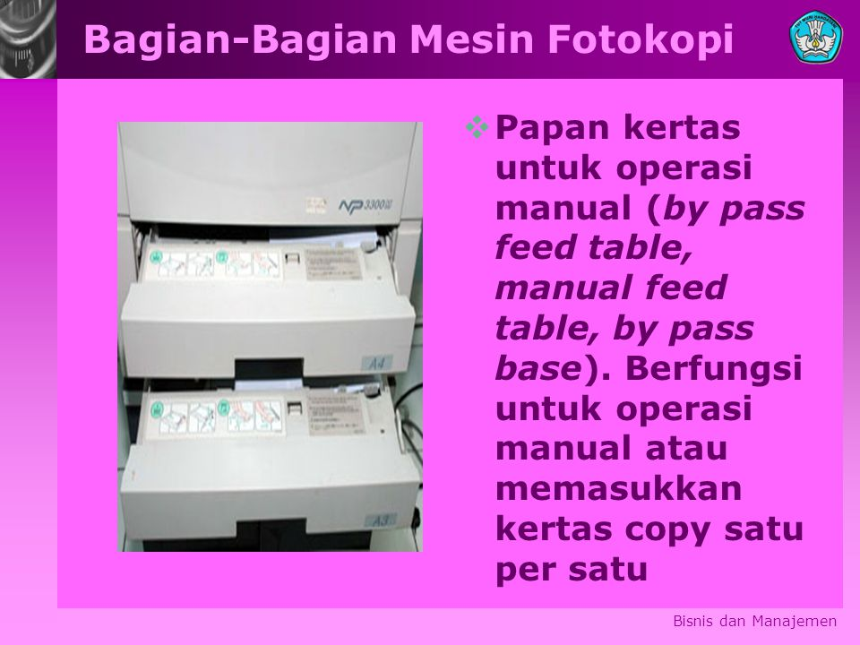 Bagian-Bagian Mesin Fotokopi  Papan kertas untuk operasi manual (by pass feed table, manual feed table, by pass base).