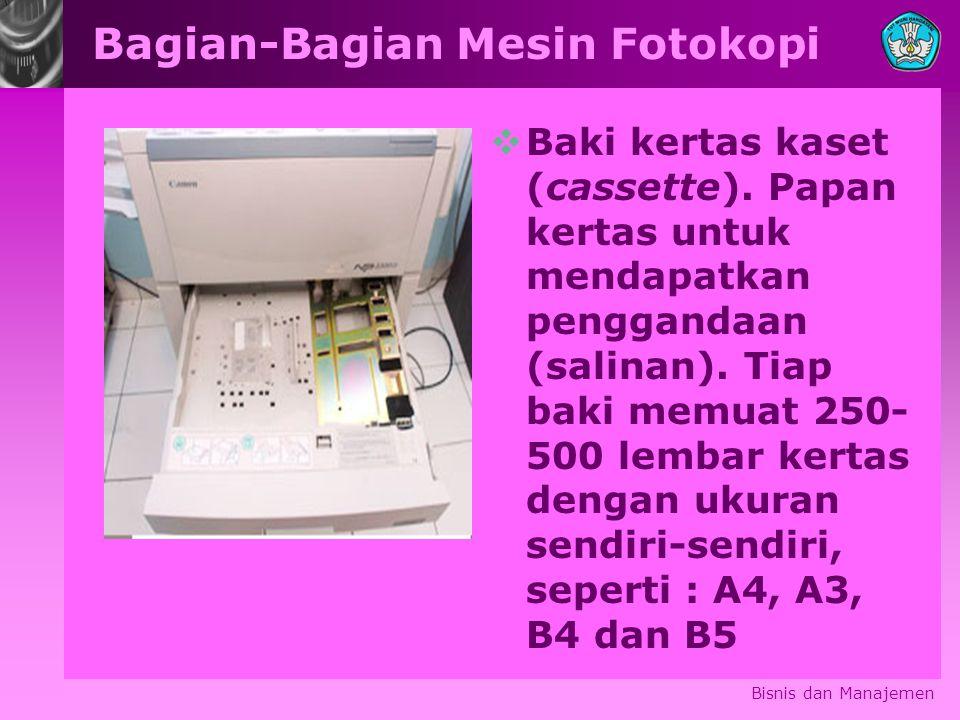 Bagian-Bagian Mesin Fotokopi  Baki kertas kaset (cassette). Papan kertas untuk mendapatkan penggandaan (salinan). Tiap baki memuat 250- 500 lembar ke