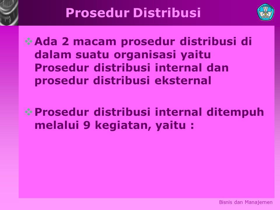 Prosedur Distribusi  Ada 2 macam prosedur distribusi di dalam suatu organisasi yaitu Prosedur distribusi internal dan prosedur distribusi eksternal  Prosedur distribusi internal ditempuh melalui 9 kegiatan, yaitu : Bisnis dan Manajemen