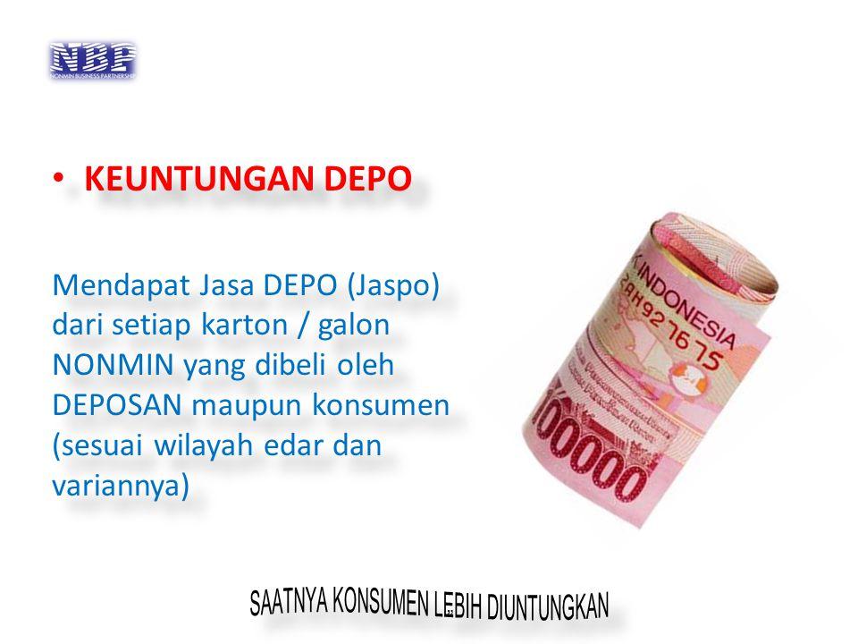 KEUNTUNGAN DEPO Mendapat Jasa DEPO (Jaspo) dari setiap karton / galon NONMIN yang dibeli oleh DEPOSAN maupun konsumen (sesuai wilayah edar dan variann
