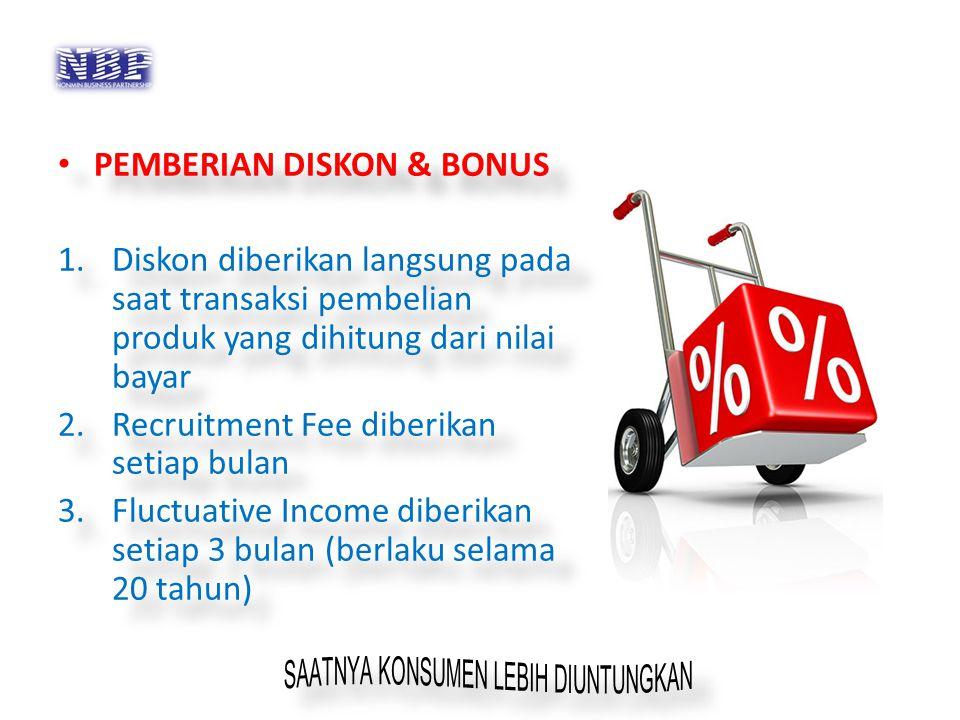 PEMBERIAN DISKON & BONUS 1.Diskon diberikan langsung pada saat transaksi pembelian produk yang dihitung dari nilai bayar 2.Recruitment Fee diberikan s