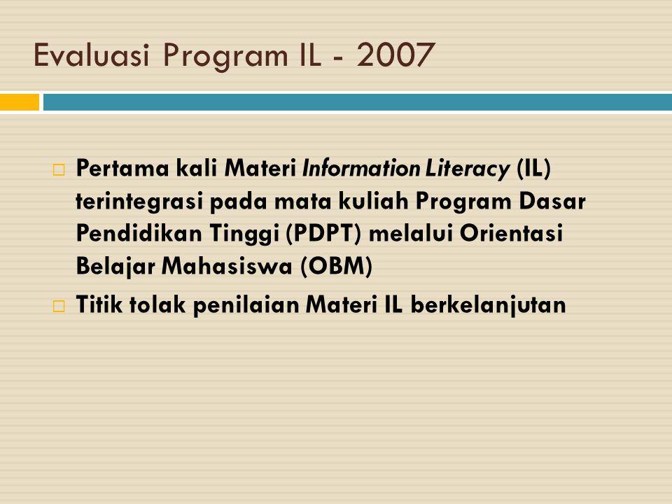 Evaluasi Program IL - 2007  Pertama kali Materi Information Literacy (IL) terintegrasi pada mata kuliah Program Dasar Pendidikan Tinggi (PDPT) melalui Orientasi Belajar Mahasiswa (OBM)  Titik tolak penilaian Materi IL berkelanjutan