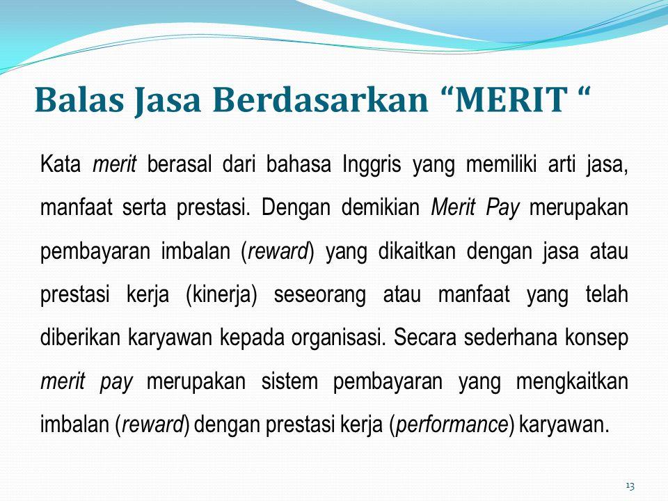 """Balas Jasa Berdasarkan """"MERIT """" Kata merit berasal dari bahasa Inggris yang memiliki arti jasa, manfaat serta prestasi. Dengan demikian Merit Pay meru"""