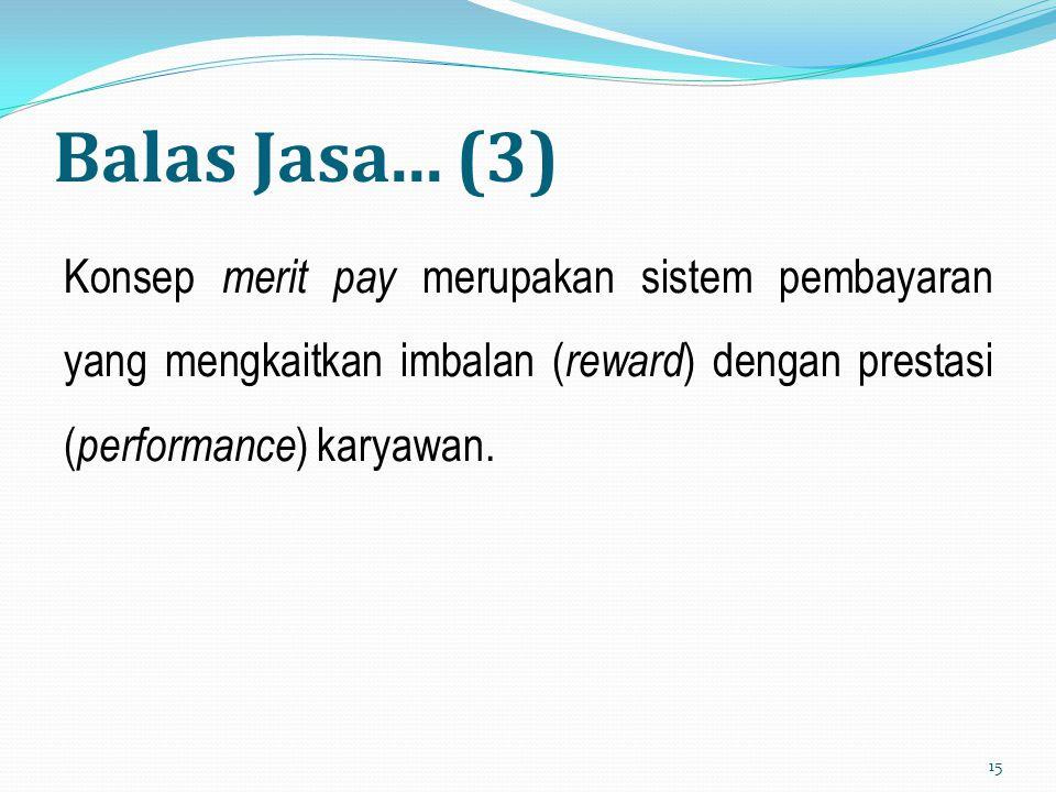 Balas Jasa... (3) Konsep merit pay merupakan sistem pembayaran yang mengkaitkan imbalan ( reward ) dengan prestasi ( performance ) karyawan. 15