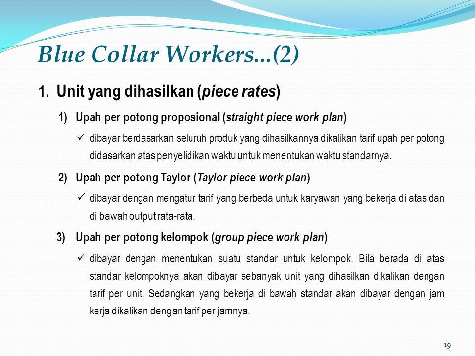 19 Blue Collar Workers...(2) 1. Unit yang dihasilkan ( piece rates ) 1)Upah per potong proposional ( straight piece work plan ) dibayar berdasarkan se